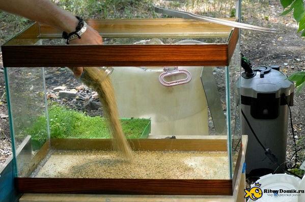 Песок для аквариума подготовка