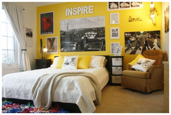 awesome-yellow-girl-bedroom-wall-painting-black-bed-and-white-bedding-colorful-rainbow-rug-idea-chic-pink-soft-blue-pillows-design-cool-round-with-delicate-floral-pattern-room-striped