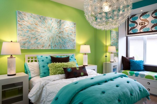 pretty-teen-girl-room-colors-blue-cotton-comforter-set-green-wall-in-the-most-stylish-in-addition-to-gorgeous-teens-room-night-stands-regarding-your-house