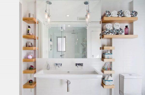 Организация открытого хранения в ванной комнате